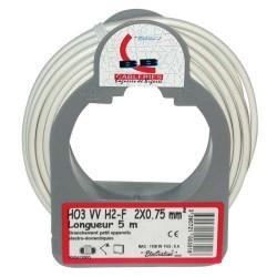 Cable meplat 2x0.75 5m blanc bobinot
