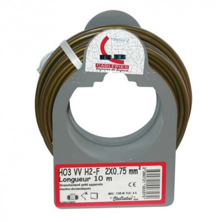 Cable meplat 2x0.75 10m or bobinot
