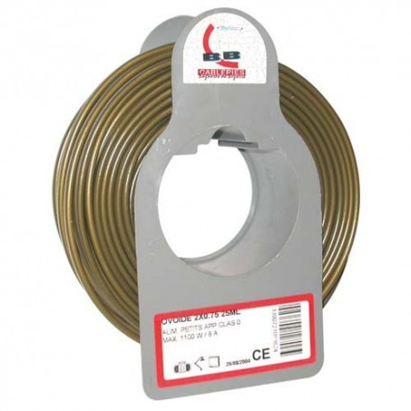Cable meplat 2x0.75 25m or bobinot