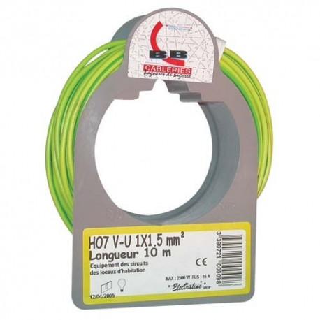 Cable h07vu 1x1.5 10m ja/vert bobinot