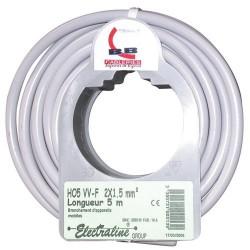 Cable h05vvf 2x1.5 5m gris 90607033j