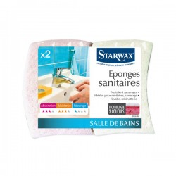 EPONGES  SANITAIRES 3 COUCHES-abrasif blanc X2