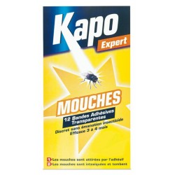 BANDES ADHESIVES TRANSPARENTES  ANTI-MOUCHES Etui de 12 KAPO