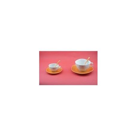 Paire tasse à déjeuner 'vallauris orange'