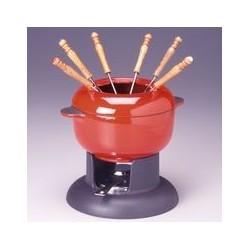 Service à fondue 'brunch' rouge INVICTA
