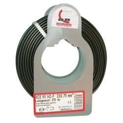 Cable meplat 2x0.75 25m noir bobinot