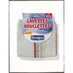 LOT 2 LAVETTES BOUCLETTES COULEURS ASSORTIES 32X32 STARWAX