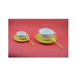 Paire tasse à déjeuner 'vallauris jaune'